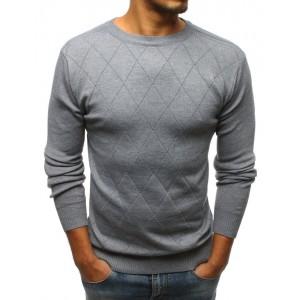 Pánsky sveter sivej farby s elegantným prešitím