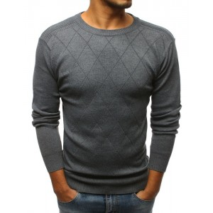 Sivý sveter s elegantným prešitím pre pánov
