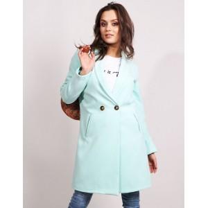 Dámsky kabát v krásnej metolovej farbe so zapínaním na gombičky