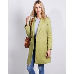 Štýlový dámsky zelený kabát rozšíreného strihu s bočnými vreckami