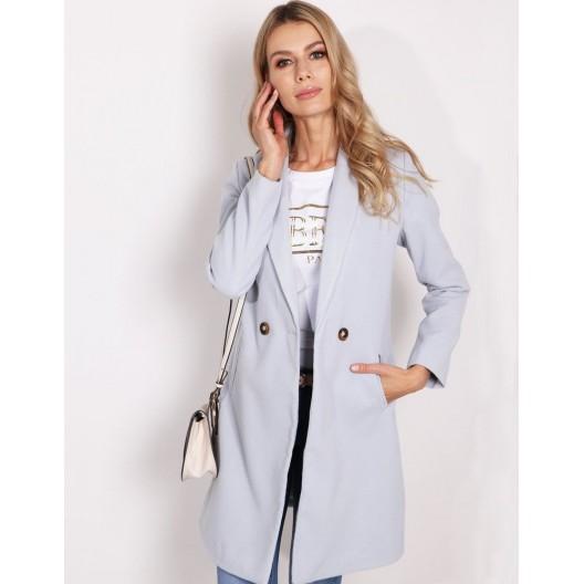 Originálny dámsky jarný kabát sivej farby nad kolená s bočnými vreckami