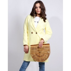 Štýlový dámsky jarný kabát v krásne žltej farbe do tvaru písmena A