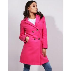 Dámsky tmavo ružový jarný kabát rovného strihu s dvojradovým zapínaním