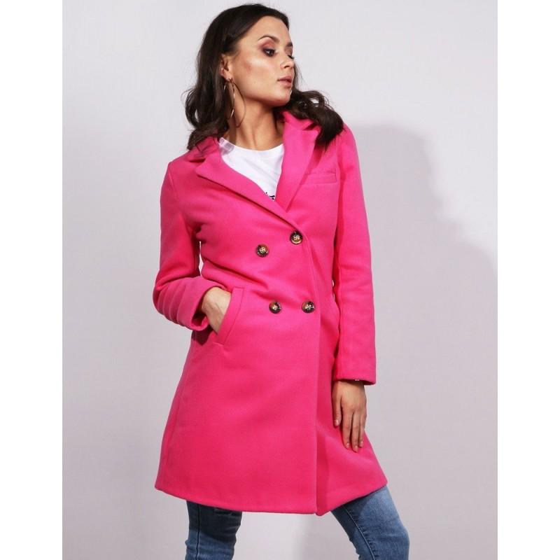 3b5912df17 Dámsky tmavo ružový jarný kabát rovného strihu s dvojradovým zapínaním
