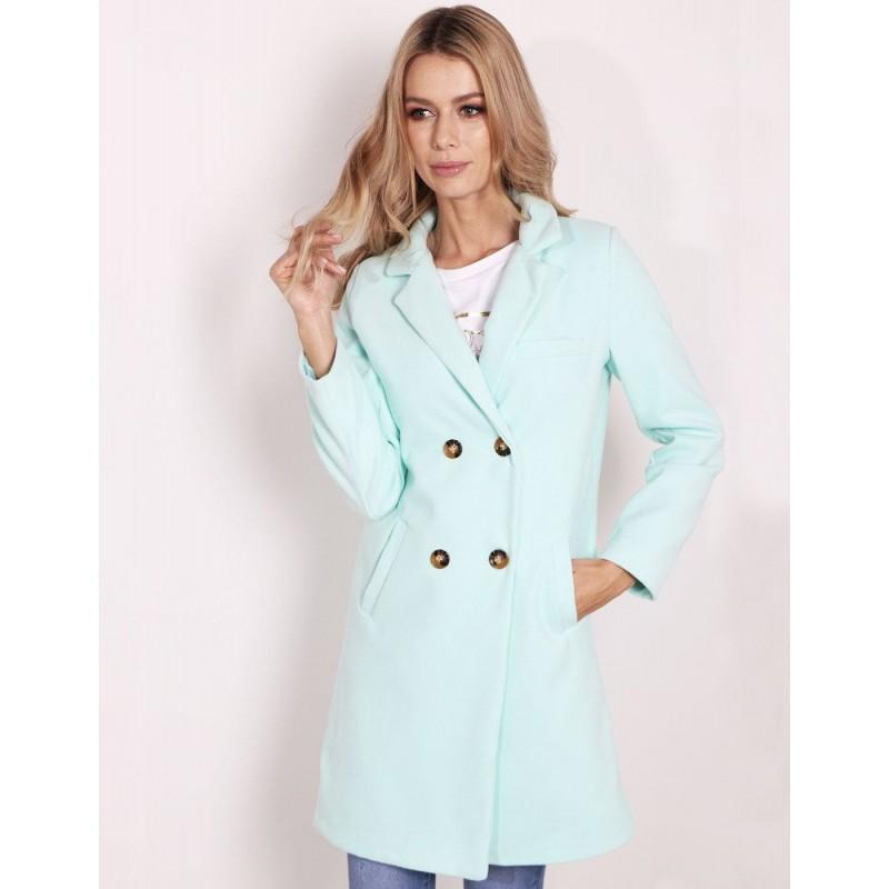 Elegantný zelený dámsky kabát s dvojradovým zapínaním na gombíky 10dc6884eda