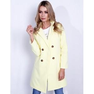 Originálny dámsky kabát v krásne žltej jarnej farbe rovného strihu