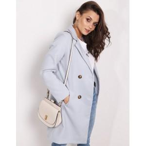 Pastelový dámsky kabát v jemnej sivej farbe sakového strihu a vreckami