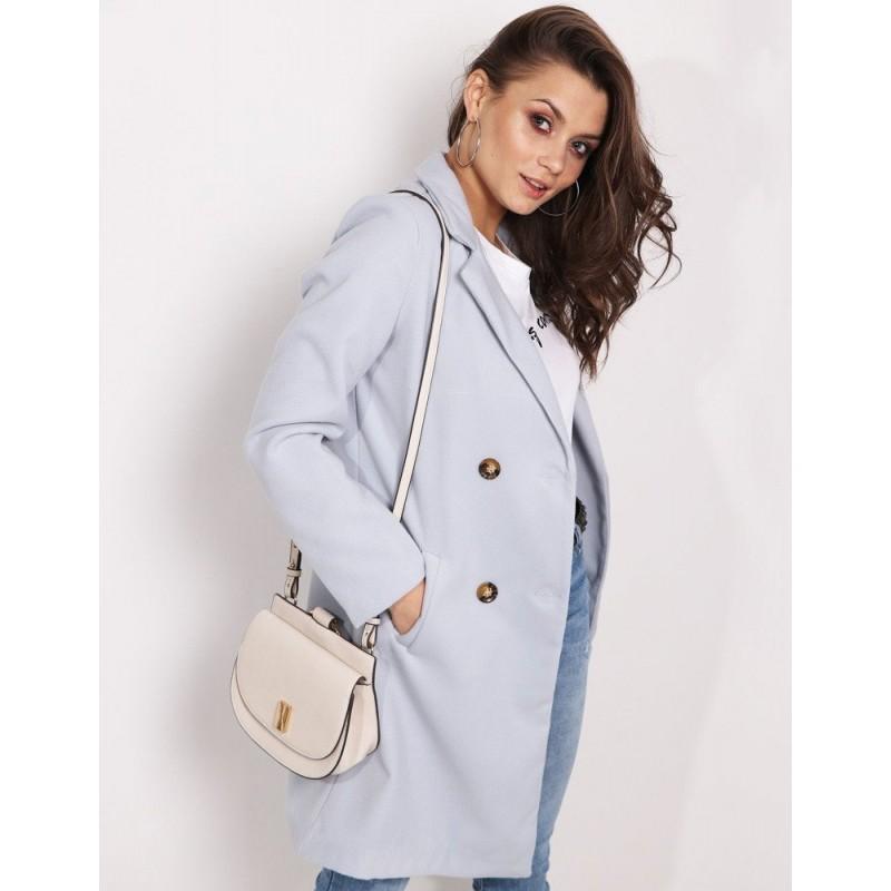 Pastelový dámsky kabát v jemnej sivej farbe sakového strihu a vreckami 7c89c3f7e94