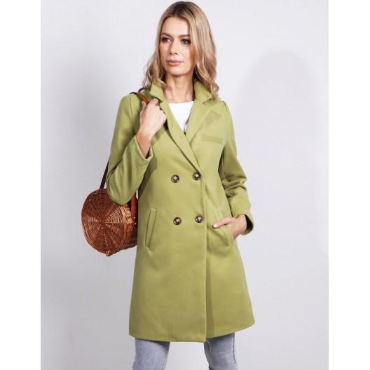 Dámsky kabát rovného strihu nad kolená v hráškovej farbe na gombíky
