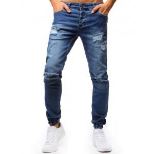 Štýlové pánske džínsy modrej farby
