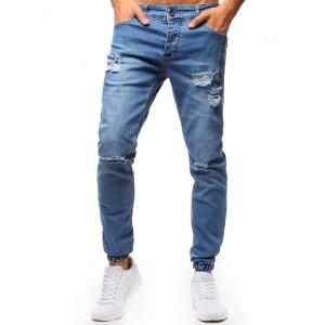 Modré rifľové nohavice pánske s módnymi dierami