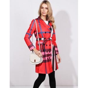 Dámsky štýlový červený jarný kabát módneho dizajnu s opaskom
