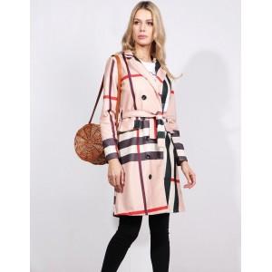 Dámsky jarný kabát s opaskom a vreckami inšpirovaný značkou Burberry