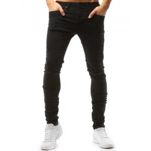 Čierne pánske nohavice s módnymi dierami na kolenách