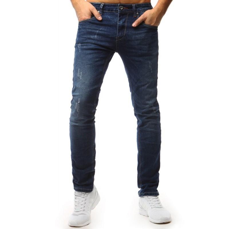 44429ba96 Pánske štýlové denim nohavice modrej farby s módnymi dierami
