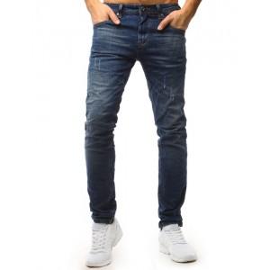 Moderné roztrhané džíny modrej farby pre pánov