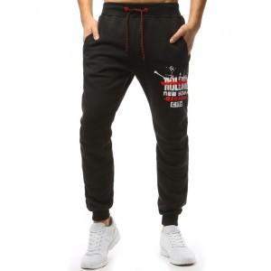 Čierne teplákové nohavice s potlačou pre pánov