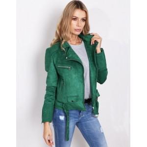 Výrazná zelená dámska bunda s golierom