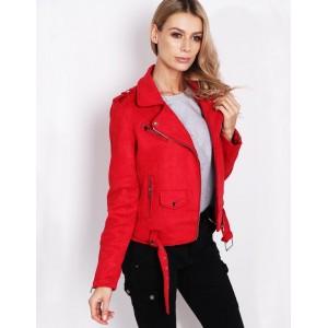 Moderná dámska červená bunda jarná