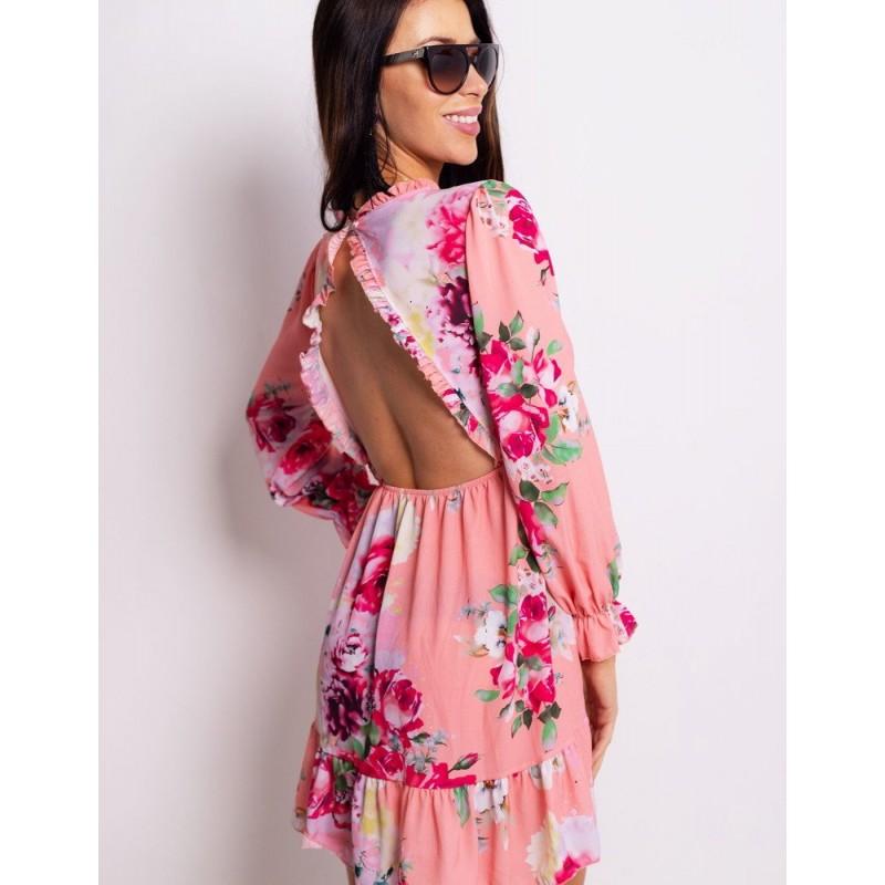 Krátke dámske kvetované šaty ružové s volánmi 09de6d751eb