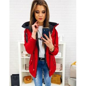 Štýlová červená obojstranná dámska bunda so zapínaním na zips