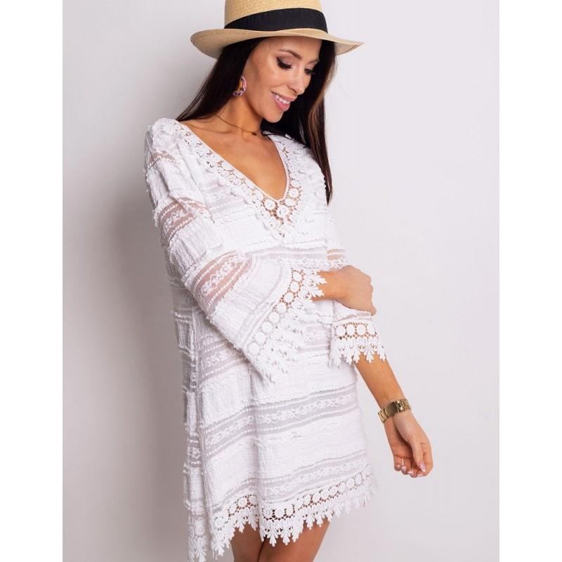 e4dabf232893 Biele krátke letné šaty na dovolenku