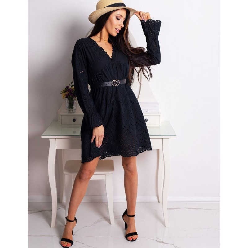 f48d297f8736 Boho čipkované dámske čierne šaty s dlhými rukávmi