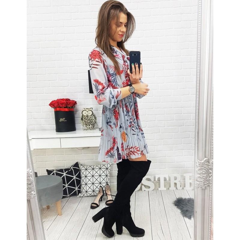 de824238d9 Dámske sivé šaty s kvetinovým motívom a dlhými rukávmi