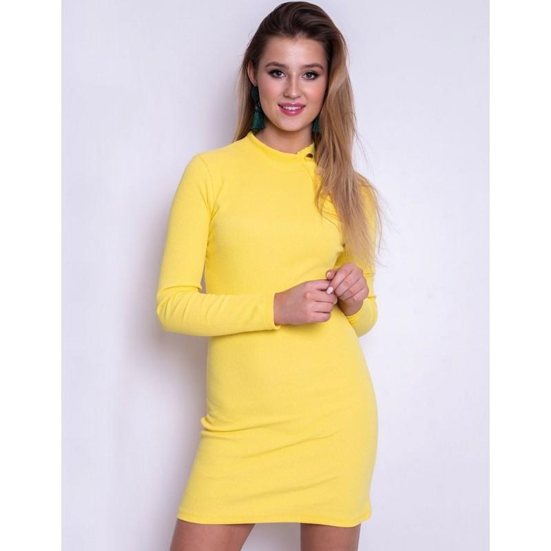 0b8c2e5d201c Úzke žlté dámske šaty krátke so zlatými gombíkmi