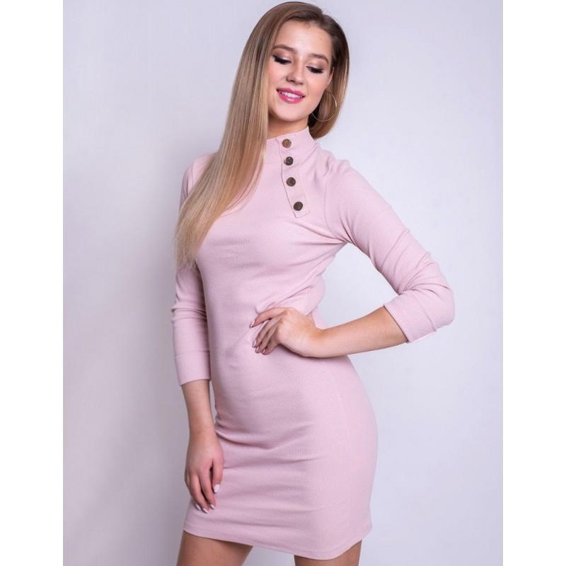 Púdrovo ružové úzke dámske šaty s rolákovým golierom 328b3edf9b0