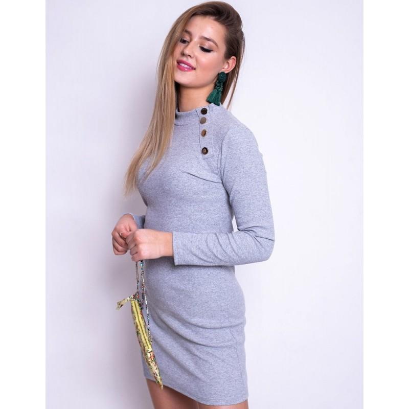 2e8c795c45c3 Sivé úpletové dámske šaty úzkeho strihu