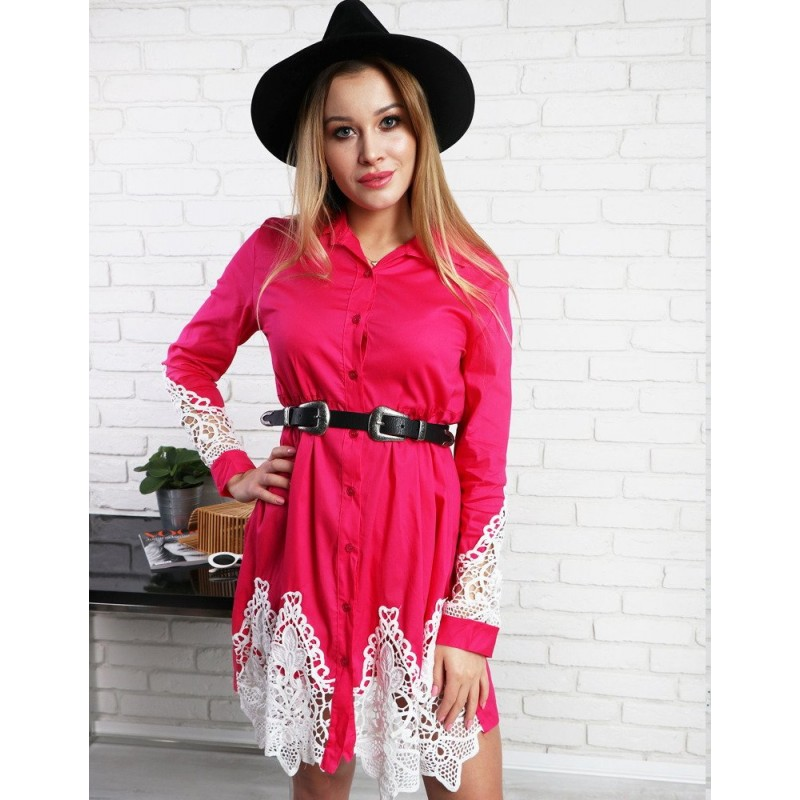 4f8cb7fa5 Ružové mini košeľové dámske šaty s čipkou