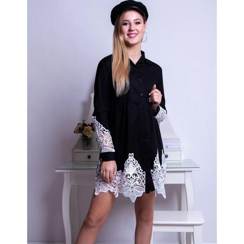00bbc4ea1327 Mini šaty dámske košeľového strihu v čiernej farbe