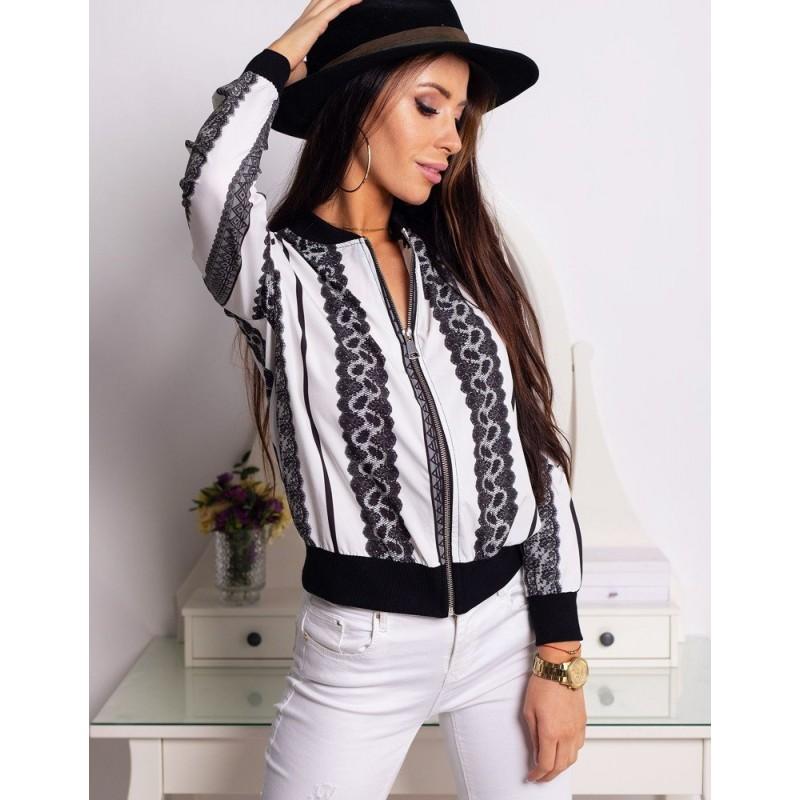 9c6b6dbc895f Štýlová biela dámska bunda do pása na zips s originálnym dizajnom čipky
