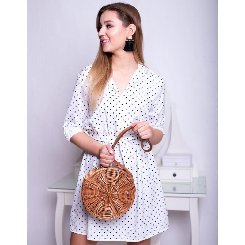 5163ba8322e6 Dámske bielo čierne bodkované šaty s gombíkmi a opaskom