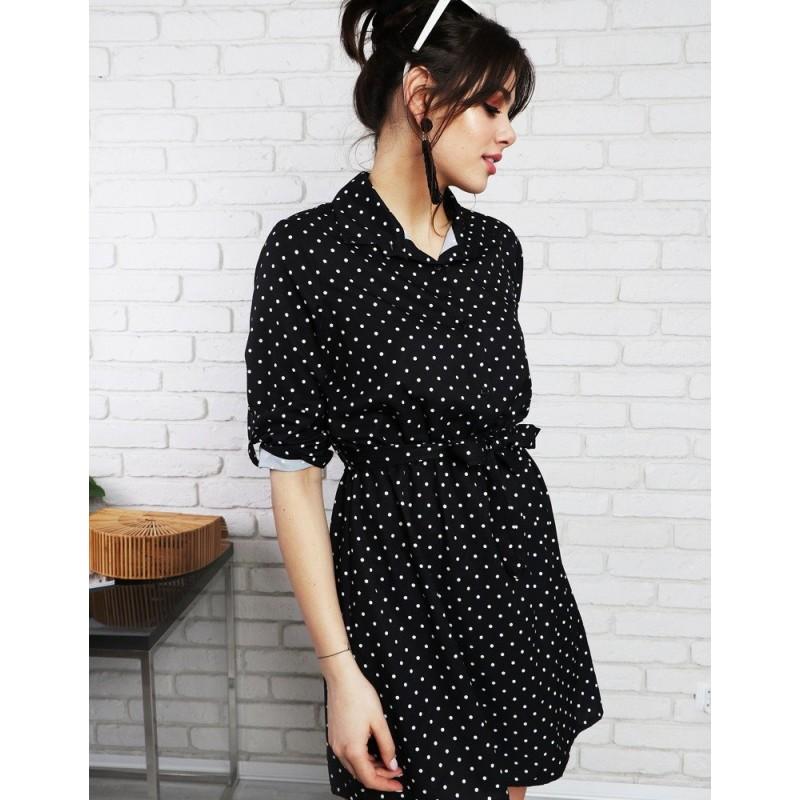 Retro bodkované šaty s opaskom čierno bielej farby e5e6924a2d7