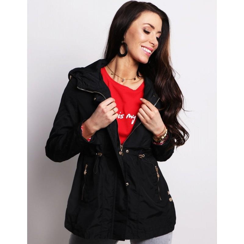 34c8fc9772f9 Čierna dámska moderná jarná bunda s efektívnym zapínaním a kapucňou