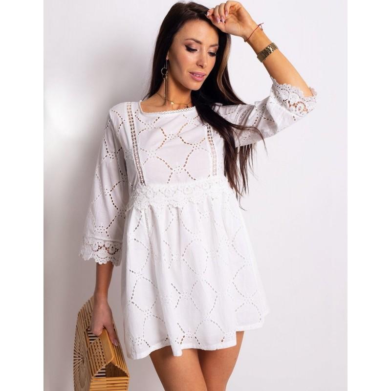 43cc5acc2336 Dámske bavlnené mini šaty biele