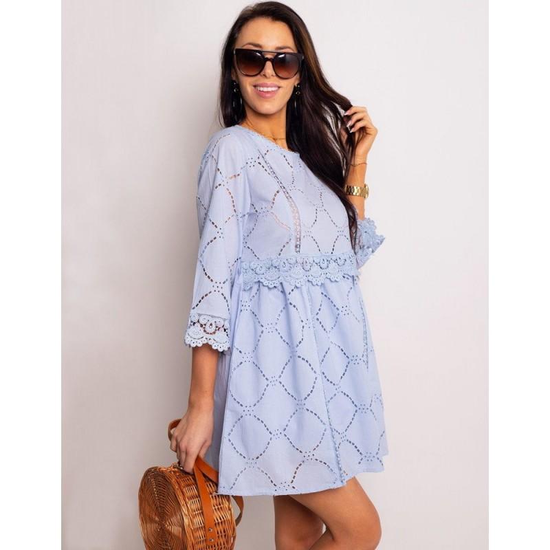 83b4d641d7e2 Dámske bavlnené mini šaty svetlo modré s 3 4 rukávmi