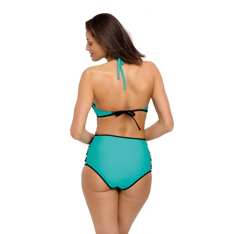 72d0a85e9 Dámske dvojdielne push up plavky mätovej farby s nohavičkami s vysokým pásom