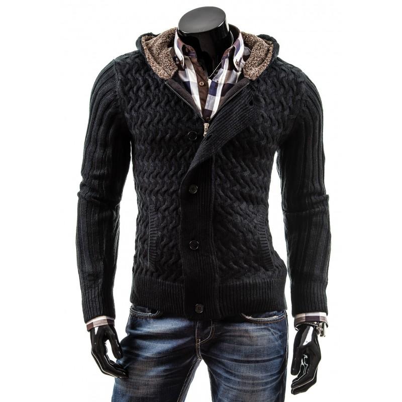 7991fe5914a77 Štýlové pánske svetre s kapucňou a pleteným vzorom čiernej farby ...