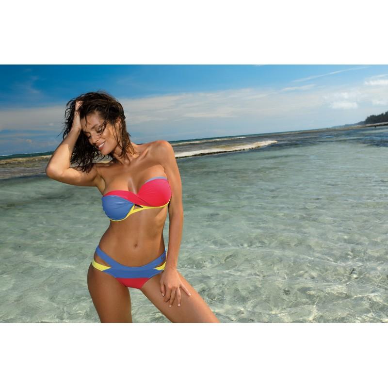 abbda78ab Modro korálové dámske dvojdielne plavky s odnímateľnými ramienkami