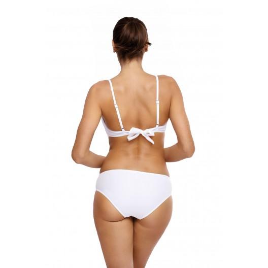 Biele dámske lesklé jednofarebné plavky s push up efektom
