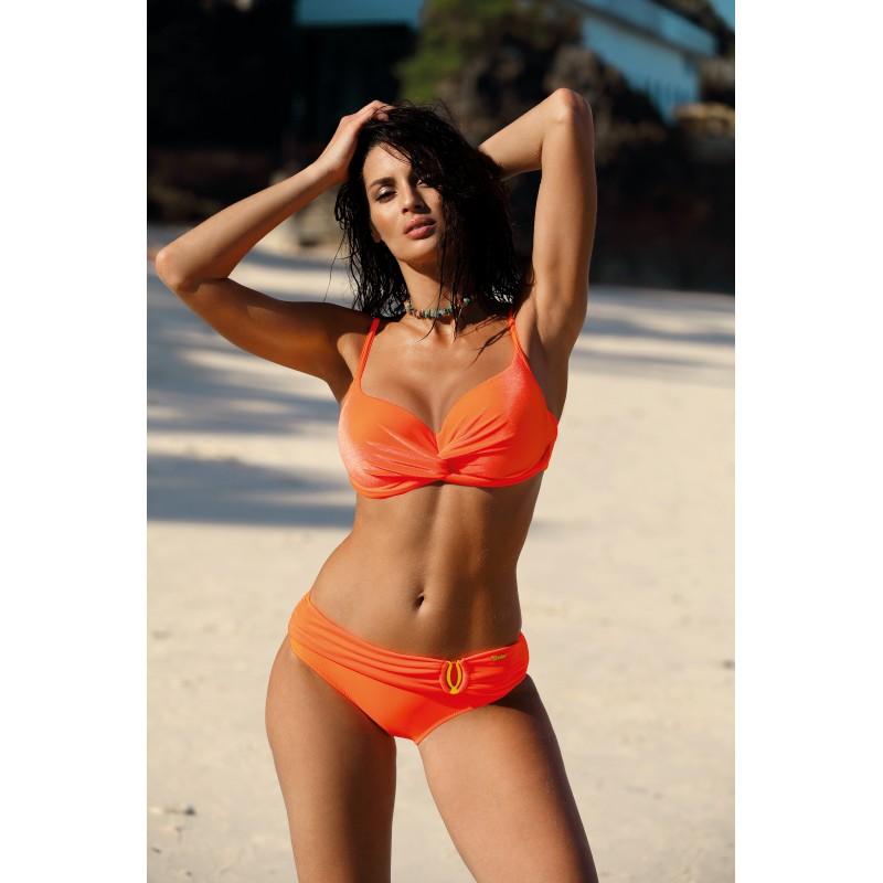 e0a41d879 Dámske oranžové dvojdielne plavky s leskom pripominajúcom zamat