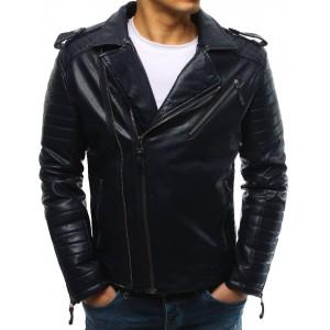 Pánska kožená motorkárska bunda modrá farbe so striebornými zipsami