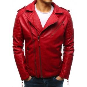 Štýlová pánska prechodná červená kožená bunda so striebornými zipsami