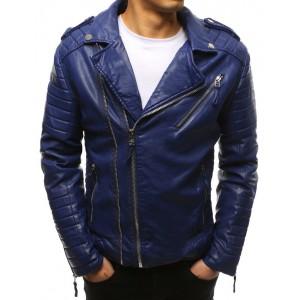 Moderná modrá pánska kožená prechodná bunda motorkárska