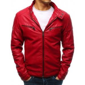 Originálna červená pánska kožená bunda so zipsami a stojačikom
