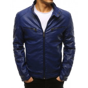 Štýlová modrá pánska kožená bunda s módnym motorkárskym dizajnom