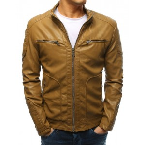 Moderná hnedá pánska kožená bunda s dizajnovým stojačikom so zipsom